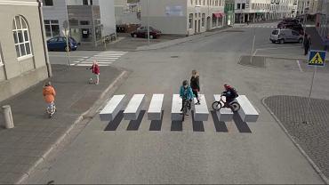 Trójwymiarowe przejście dla pieszych na Islandii
