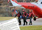 Ratownicy TOPR transportuj� zw�oki s�owackiego turysty, kt�ry zgin�� pod Rysami