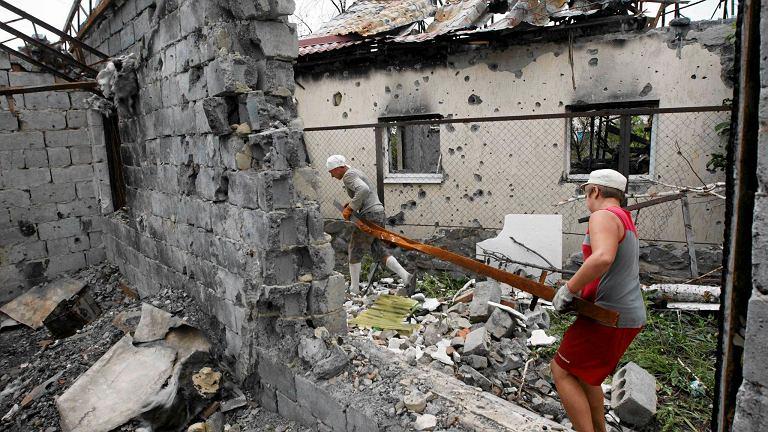Dom zniszczony podczas ataku na Donieck