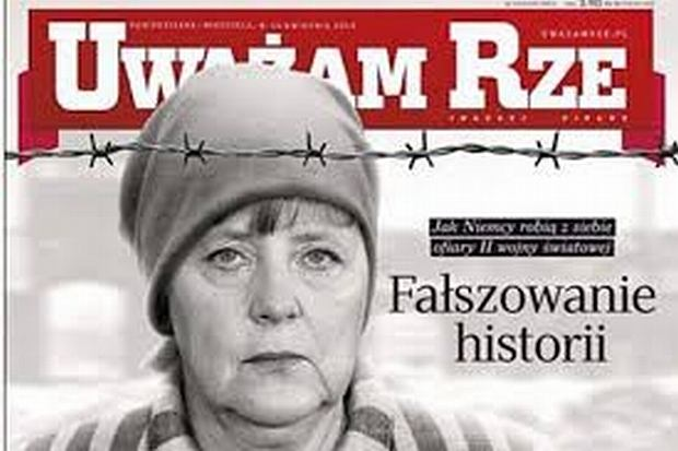 Angela Merkel w oświęcimskim pasiaku na okładce
