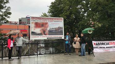 11 lipca popołudniu w samym centrum Bielsku-Białej na moście na deptaku handlowym, ulicy 11 Listopada pojawili się działacze Fundacji Życie i Rodzina z drastycznym banerem