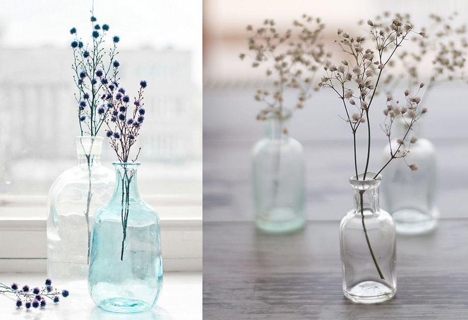 Jesienne dekoracje z kwiatów - szklane wazony