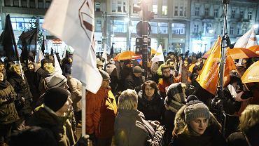 Protest przeciwko likwidacji gimnazjów - Łódź