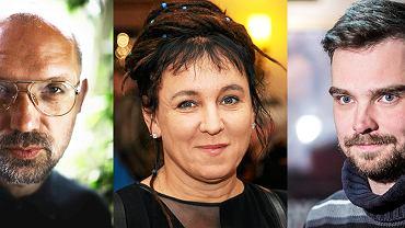 Troje 'zawodników' reprezentacji polskich pisarzy na Targi Książki w Londynie: Andrzej Nowak, Olga Tokarczuk, Zygmunt Miłoszewski