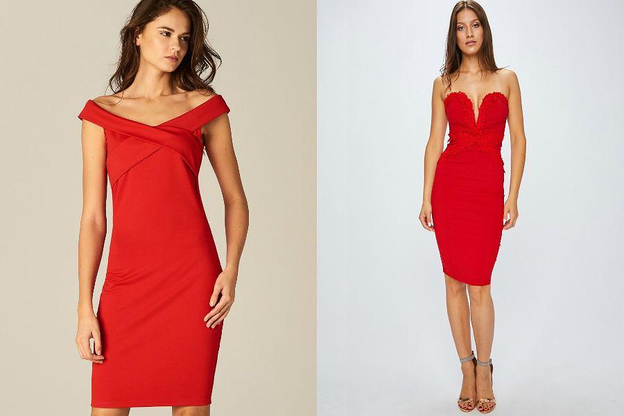 czerwone sukienki z dekoltem
