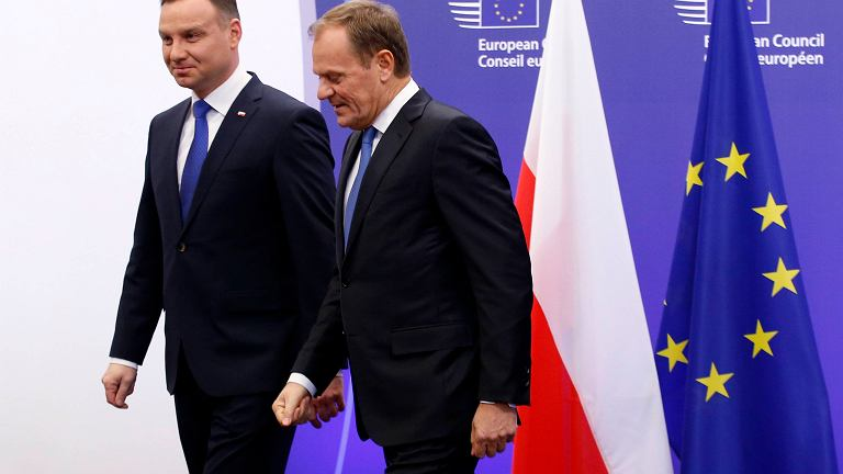 Spotkanie na szczycie - prezydent Duda i szef KE Donald Tusk w Brukseli