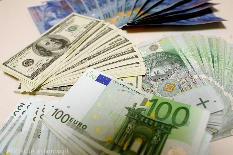 Banknoty euro, dolary i frank szwajcarski