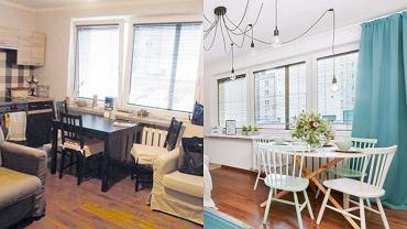 Metamorfoza salonu z aneksem kuchennym - przed i po