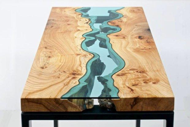 Niesamowite po��czenie naturalnego drewna i szk�a. Projekt: Greg Klassen Furniture Maker.