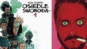 Okładka nowego wydania komiksu 'Osiedle Swoboda' i autoportret autora, Michała 'Śledzia' Śledzińskiego.