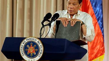 Prezydent Filipin Rodrigo Duterte podczas konferencji dot. walki z narkobiznesem. Manila, 16 sierpnia 2017
