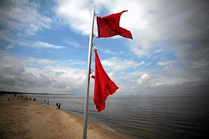 Czerwone flagi i zakaz k�pieli nad Ba�tykiem. Pow�d: wyj�tkowo lodowata woda