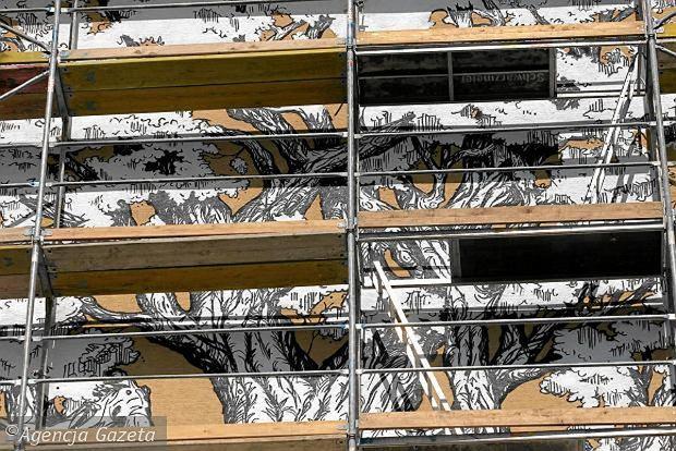 Jerzyki i jask ki na cianie bloku ursyn w pi kniejszy o for Mural ursynow