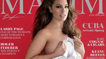 """Ashley Graham, pierwsza modelka plus size na okładce magazynu """"Maxim"""", kwiecień 2016"""