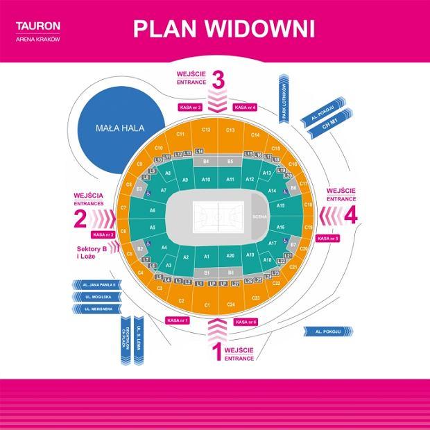 Plan widowni TAURON Areny Kraków