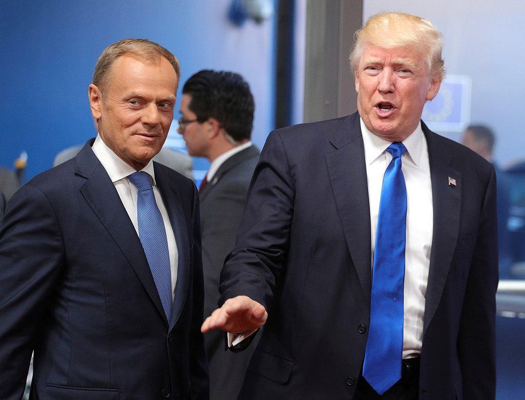 Szef Rady Europejskiej Donald Tusk i prezydent USA Donald Trump