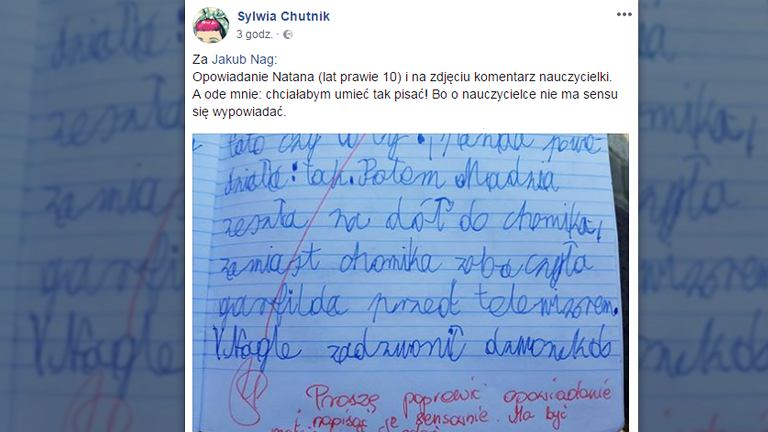 Opowiadanie Natana nie spodobało się nauczycielce, bo chłopiec nie zmieścił się w ośmiu zdaniach i napisał je 'niesensownie'