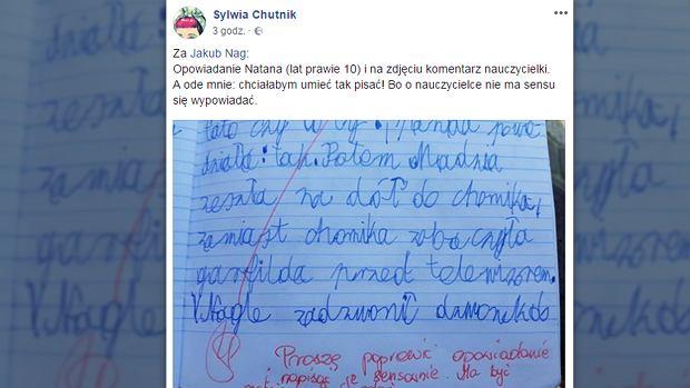 """Natan popisał się wyobraźnią w pracy domowej. Zamiast pochwały - uwaga. """"Polski nauczyciel w czystej postaci"""""""