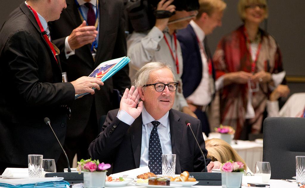 Przewodniczący Komisji Europejskiej Jean Claude Juncker podczas unijnego szczytu w Brukseli 29 czerwca 2018 roku