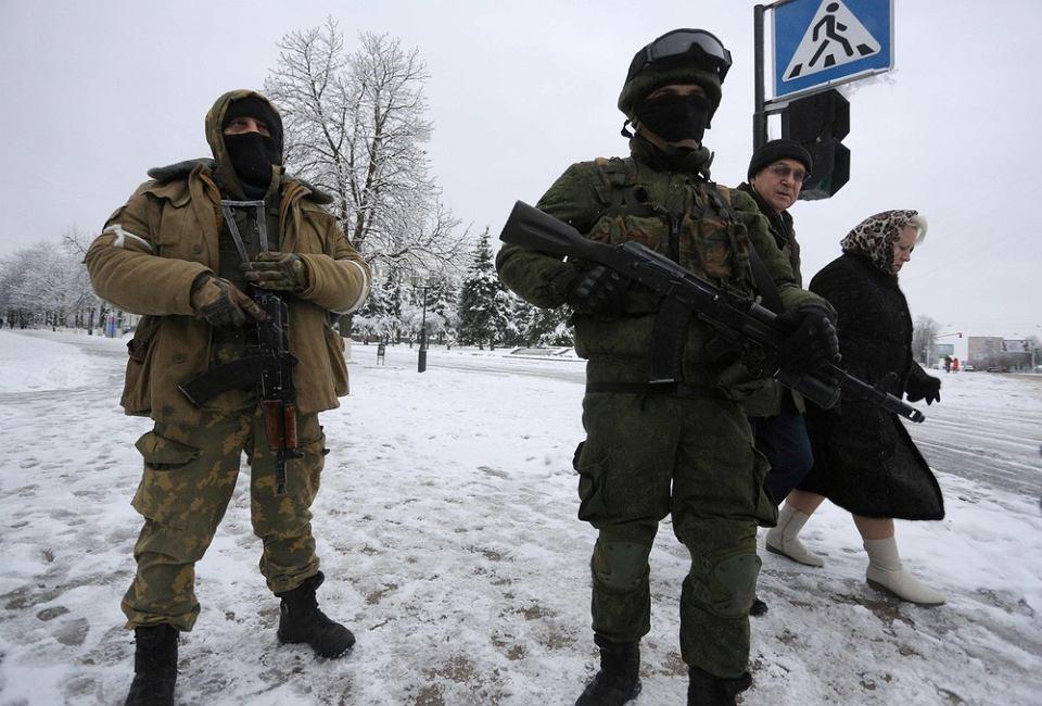 23.11.2017, uzbrojeni mężczyźni na ulicach Ługańska.