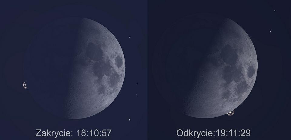 Momenty zakrycia i odkrycia Aldebarana przez Księżyc w dniu 23 lutego 2018