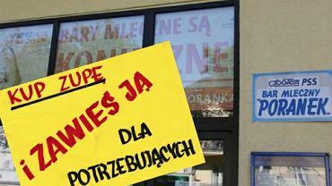 Bar mleczny 'Poranek' ze Słupska prowadzi akcję 'zawieś zupę dla potrzebujących'