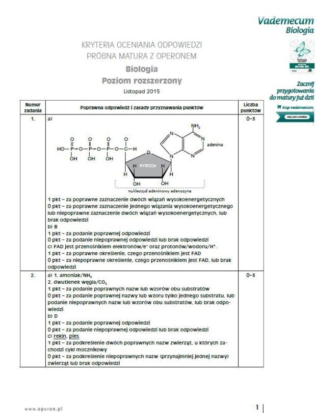 próbna matura operon 2012 biologia odpowiedzi