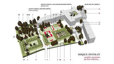 Bonifraterskie Ogrody Życia. Znajdą się tu: 1. Hortus Conclusus (ogród zamknięty), z kurtyną wodną, przeznaczony dla osób z demencją;  2. Ogród Zapachów z kurtyną wodną, założeniem typu dry plaza i alpinarium.  Pas środkowy ma charakter reprezentacyjny, ogólnie dostępny i mieści:  3. Ogród Bzowy, z altaną i grządkami do hortiterapii oraz niewielkim  założeniem wodnym;  4. Ogród Różany, z rozarium i łąką 'do tańca i różańca'; 5. Ogród Jaśminowy, z Grotą Maryjną.  Pas wschodni wskrzesza tradycję upraw klasztornych i ma służyć w głównej mierze mieszkańcom Przedmieścia Oławskiego. Znajdują się tutaj: 6. Ogród Klasztorny, z winnicą, studnią oraz grządkami wspólnotowymi; 7. Ogród Rajski, z rajskimi jabłonkami, rozarium i łąką kwietną, przeznaczony na imprezy okolicznościowe; 8. Ogród Rodzinny, z siłownią, altanką i łąką, przeznaczoną do wypoczynku;  9. Ogród Klauzurowy, z Ogrodem Zimowym i dawną lodownią.  Część północna: 10. Wirydarz, z ogrodem tarasowym na dachu;  11. Dziedziniec Świętojański, z drzewkami granatów w donicach; 12. Skwer przed fasadą kościoła. Sady w ogrodach wschodnich powstaną jako założenia pomnikowe poświęcone Sprawiedliwym, którzy w czasach wojen i zamętu chronią innych często z narażeniem własnego życia. Po obu stronach bramy wjazdowej zaprojektowano parkingi na 55 miejsc i wiatę na rowery.  Mała architektura: 13. rzeźba św. Jana Bożego 14. altana z kuchnią 15. fontanna 16. ogrody sensoryczne 17. trejaż różany 18. ekran akustyczny 19. kurtyna wodna 20. alpinarium 21. Grota Maryjna 22. siłownia 23. rozarium 24. winnica