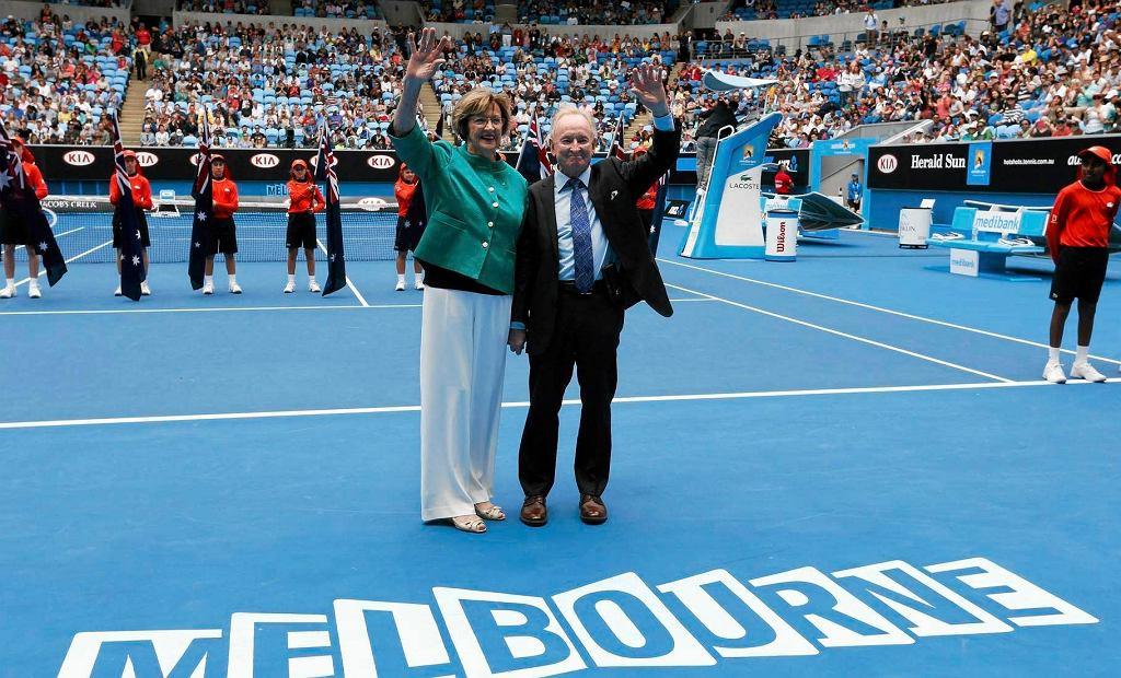 Margaret Court i Rod Laver na Margaret Court Arena w 2015 roku