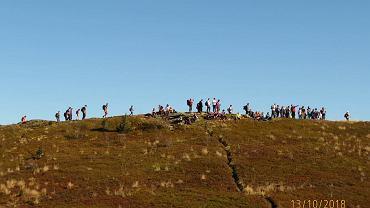 Turyści na Bukowym Berdzie