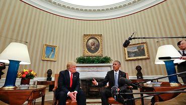 Donald Trump, nowy prezydent USA, podczas wizyty w Białym Domu u jeszcze urzędującego Baracka Obamy