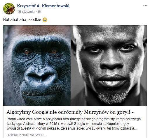 Dr Krzysztof Klementowski publikuje na swoim profilu na Facebooku rasistowskie treści