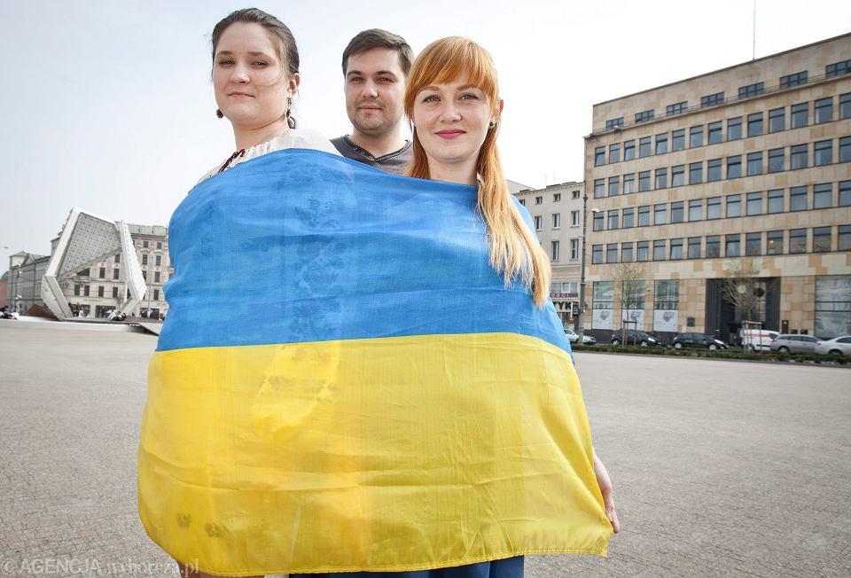Studenci z Ukrainy na Placu Wolności w Poznaniu