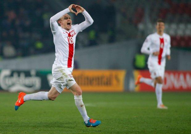 Sebastian Mila po zdobyciu trzeciego gola w meczu z Gruzją w eliminacjach do Euro 2016
