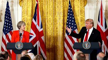 Premier Wielkiej Brytanii Theresa May i prezydent USA Donald Trump