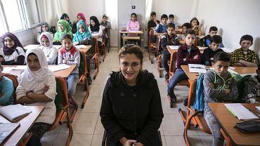 Syryjskie dzieci podczas lekcji w tymczasowej tureckiej szkole w Reyhanli (prowincja Hatay), 16 listopada 2017 r.