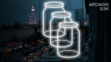 """Projekt neonu """"Warszawskie słoiki"""". Autorzy: Designlab - Magdalena Czapiewska, Karol Murlak"""