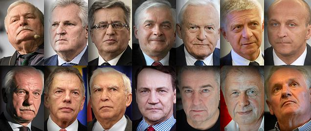 Former Polish presidents, prime ministers, foreign ministers and leaders of the anti-communist opposition. Photo collage: Wyborcza Gazeta