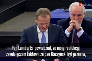 Tusk uszczypliwie o Kaczyńskim na forum Europarlamentu