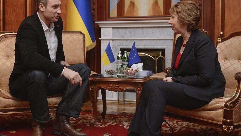 Witalij Kliczko i Catherine Ashton podczas spotkania w Kijowie