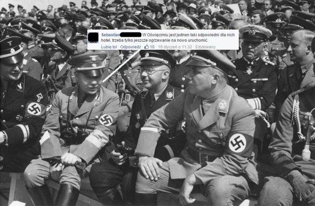 Zdj�cie z czas�w II wojny �wiatowej zestawione z polskim komentarzem