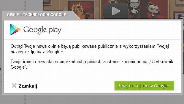 Fragment witryny Google Play