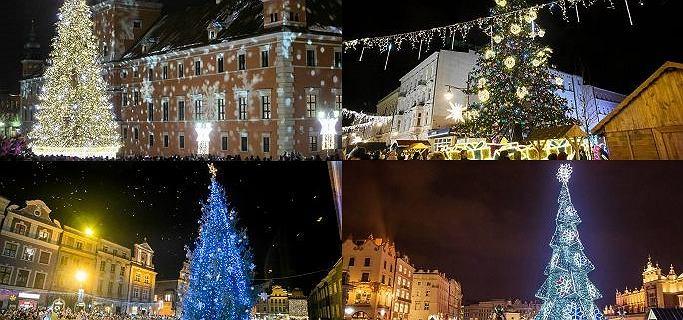 W całej Polsce rozbłysły miejskie choinki. Która najpiękniejsza? [ZDJĘCIA]