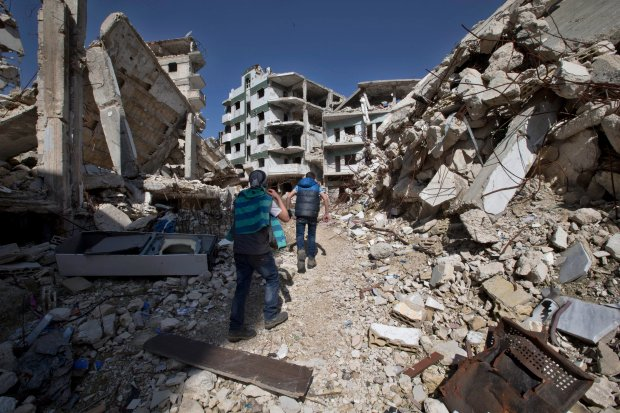 Ruiny miasta Homs w Syrii, 26 lutego 2016 r.