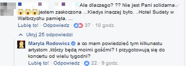 Maryla Rodowicz odpowiada na komentarz fanki