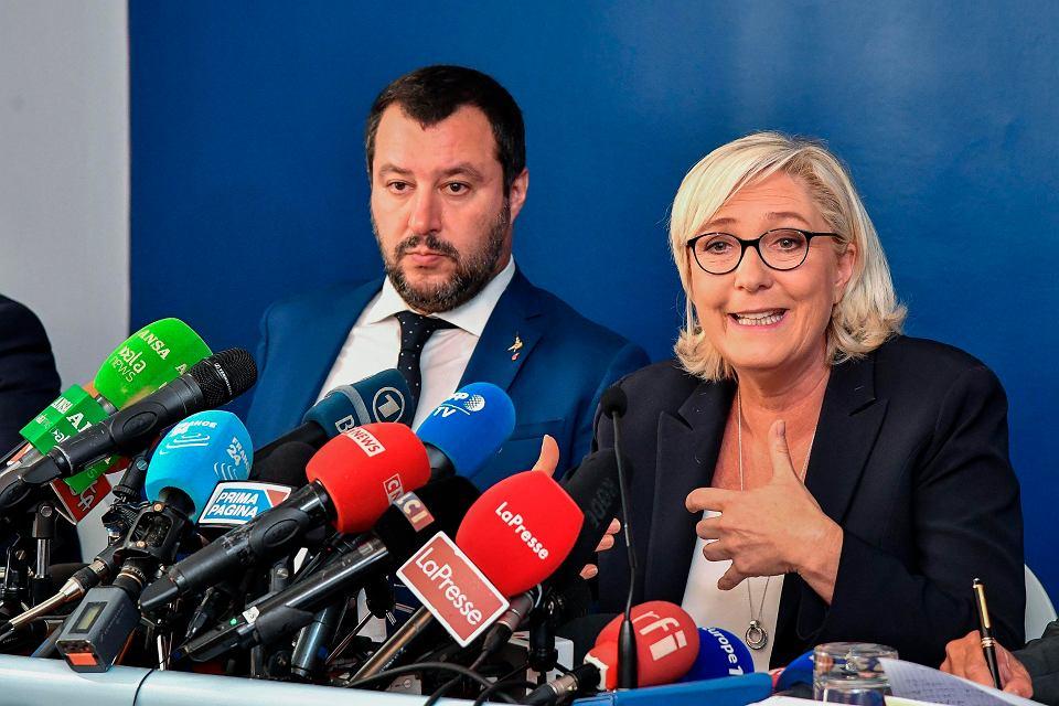 8.10.2018, Rzym, wspólna konferencja prasowa włoskiego wicepremiera i ministra spraw wewnętrznych Matteo Salviniego i Marine Le Pen
