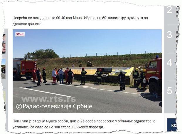 Wypadek polskiego autobusu w Serbii. Zginął kierowca, 4 osoby w szpitalu