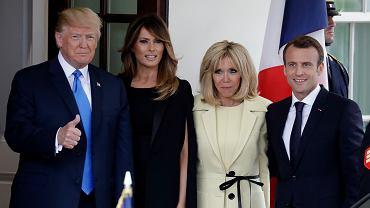 Prezydent Francji Emmanuel Macron wraz z małżonką Brigitte podejmowani w Waszyngtonie  przez Donalda Trumpa i pierwszą damę, Melanię Trump. Biały Dom,  23 kwietnia 2018 r.