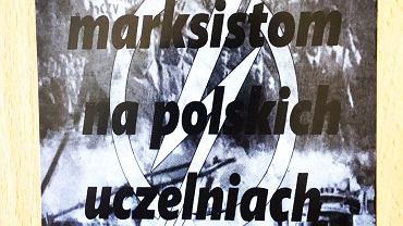 Ulotka kolportowana na terenie Uniwersytetu Gdańskiego