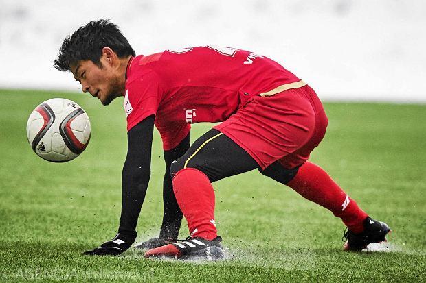 Yudai Ogawa podczas meczu Widzew - FK Horodziej